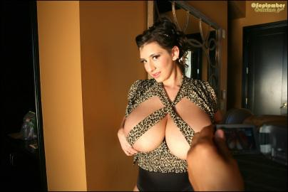 Leopard Blouse - Candids - Set 2 - Boobs lookin' huge!