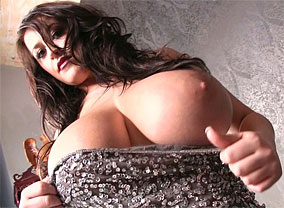 Leanne crow silver sparkles01 trailer lascivious busty babe strips and Libidinous curvy babe strips and exposes her 34HH boobs. Busty, brunette, panties, topless